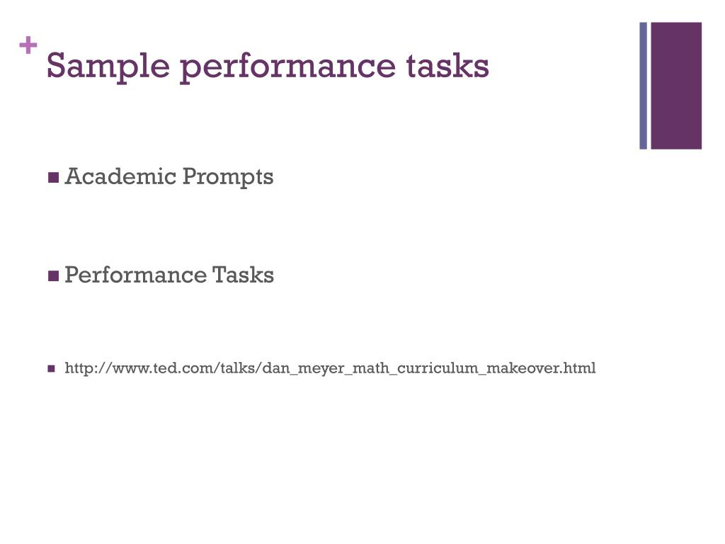 Sample performance tasks