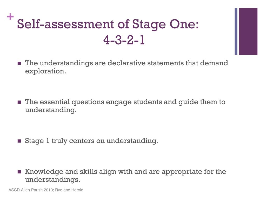 Self-assessment of Stage