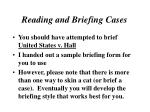 reading and briefing cases