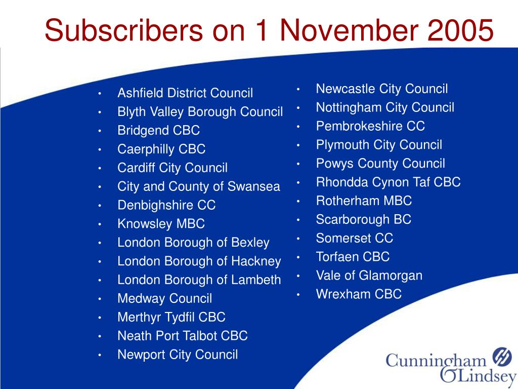 Subscribers on 1 November 2005