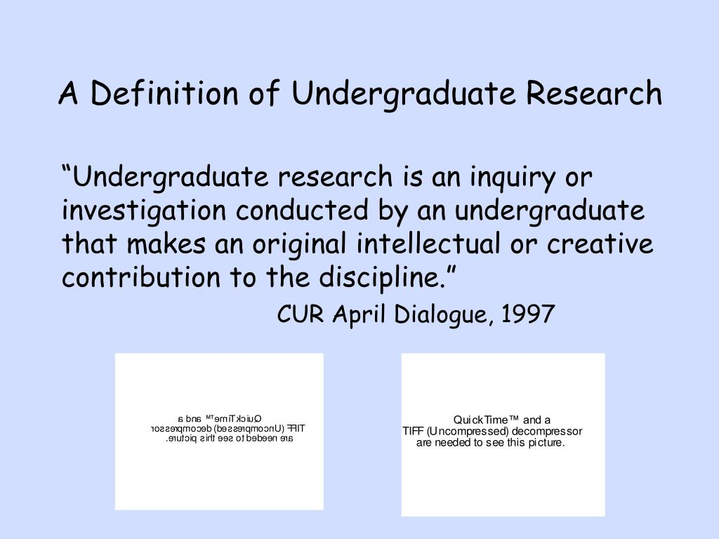 A Definition of Undergraduate Research