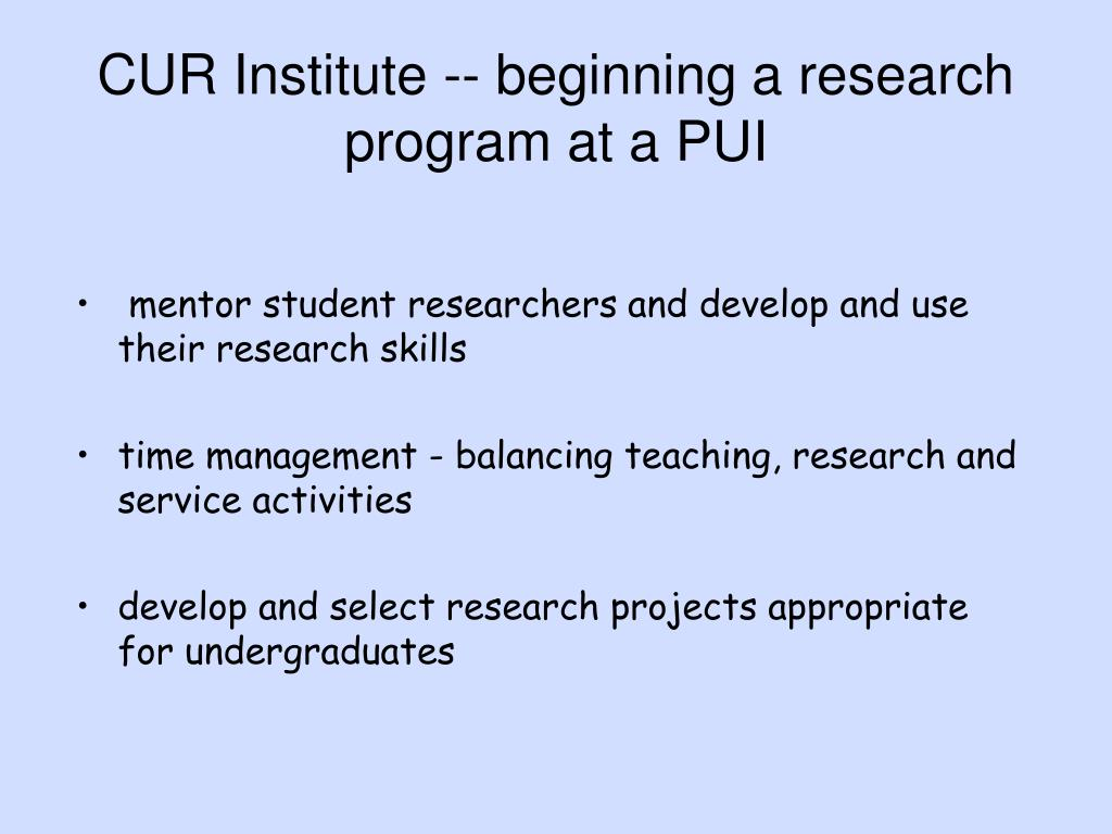 CUR Institute -- beginning a research program at a PUI
