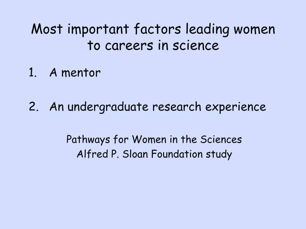 Most important factors leading women to careers in science