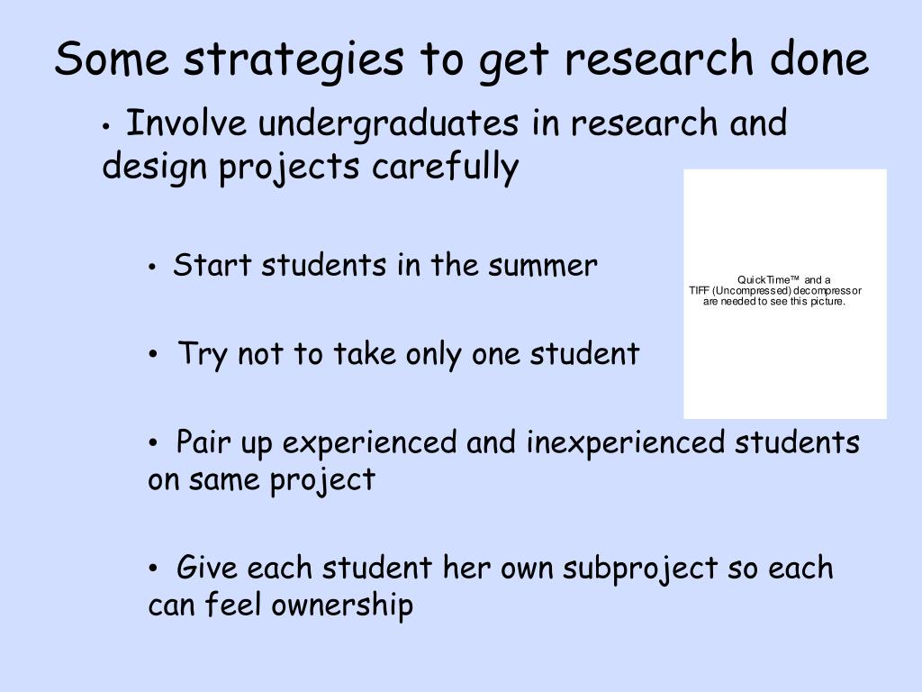 Some strategies to get research done