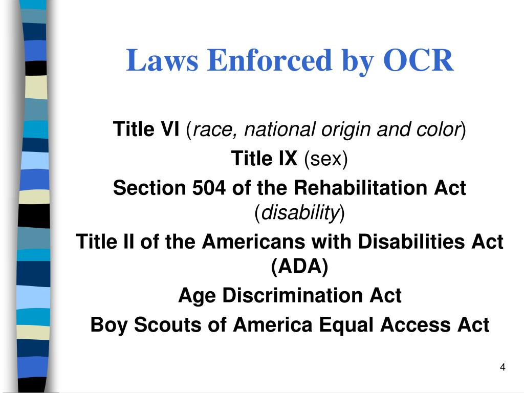 Laws Enforced by OCR