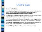ocr s role