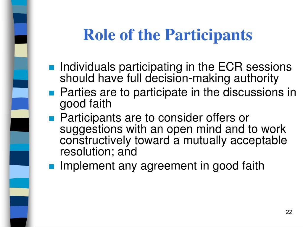 Role of the Participants