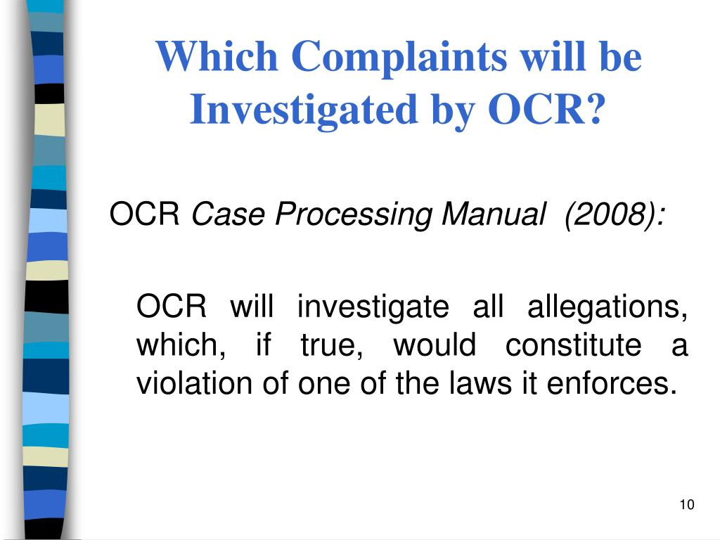 Which Complaints will be Investigated by OCR?