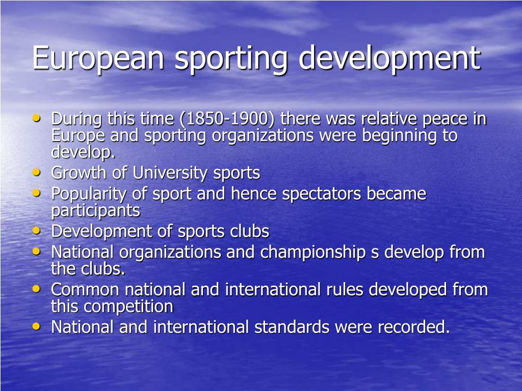 European sporting development