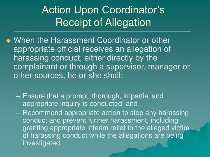 Action Upon Coordinator's