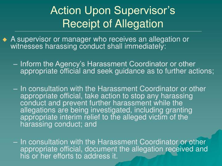 Action Upon Supervisor's