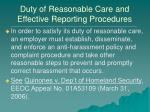 duty of reasonable care and effective reporting procedures