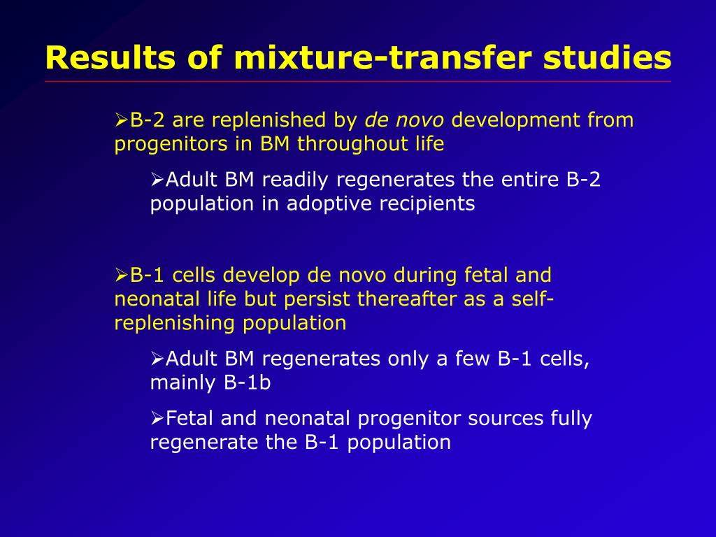 Results of mixture-transfer studies