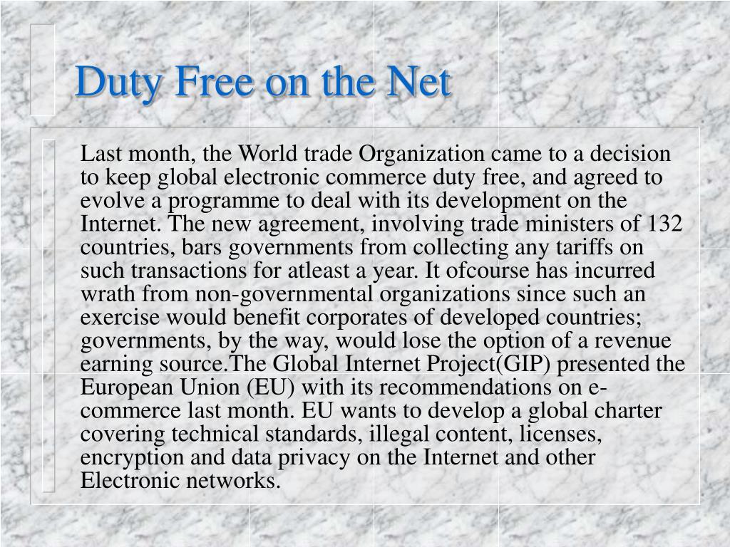 Duty Free on the Net