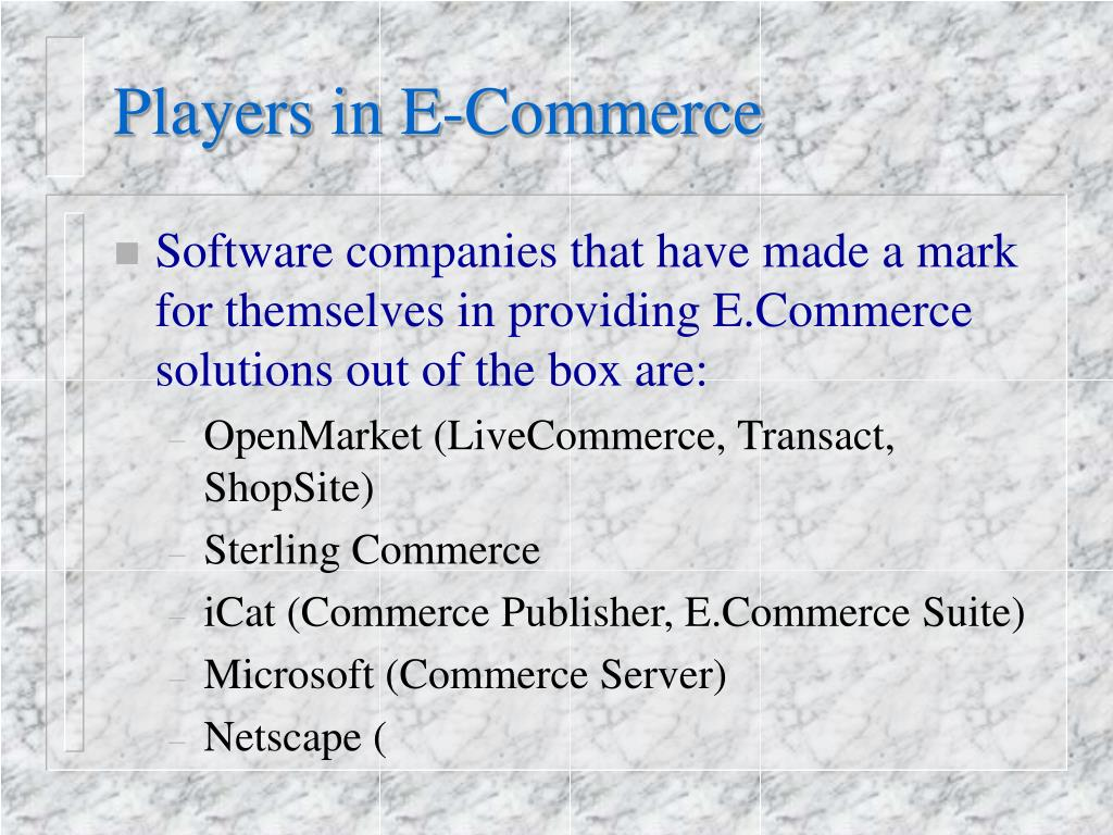 Players in E-Commerce