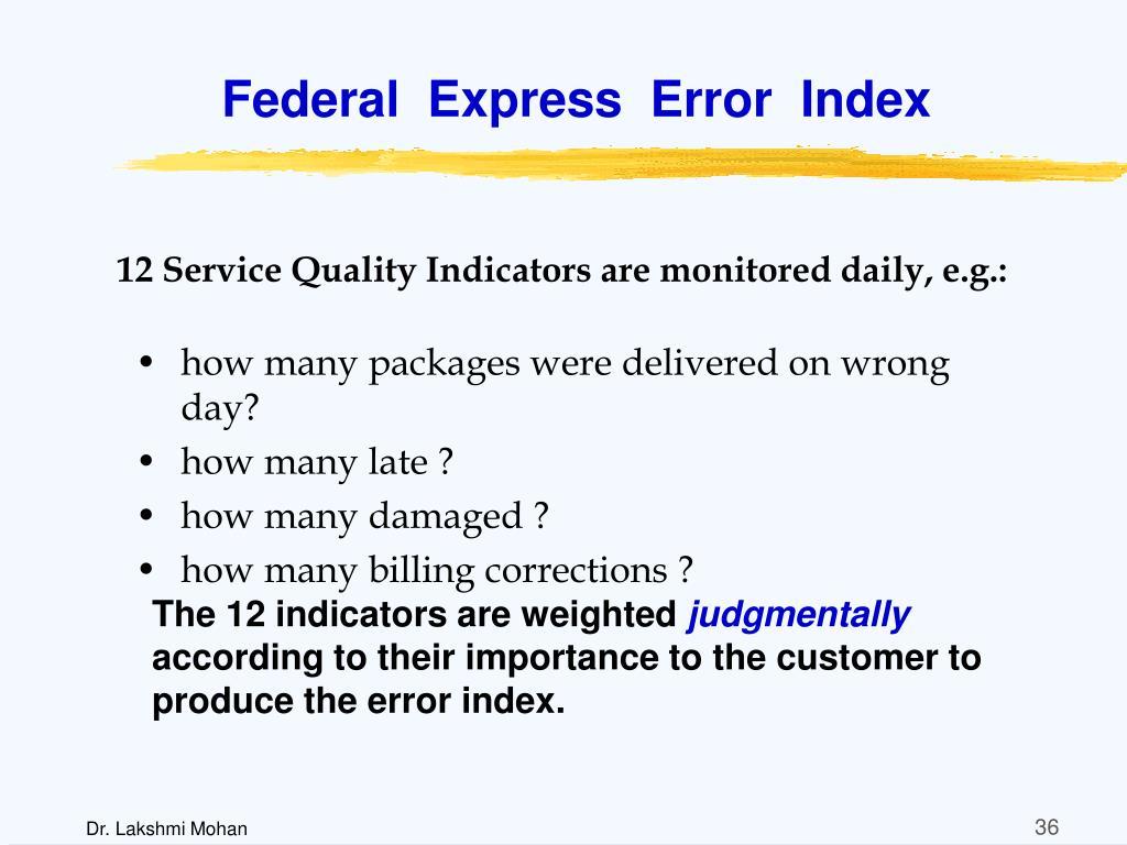 Federal  Express  Error  Index