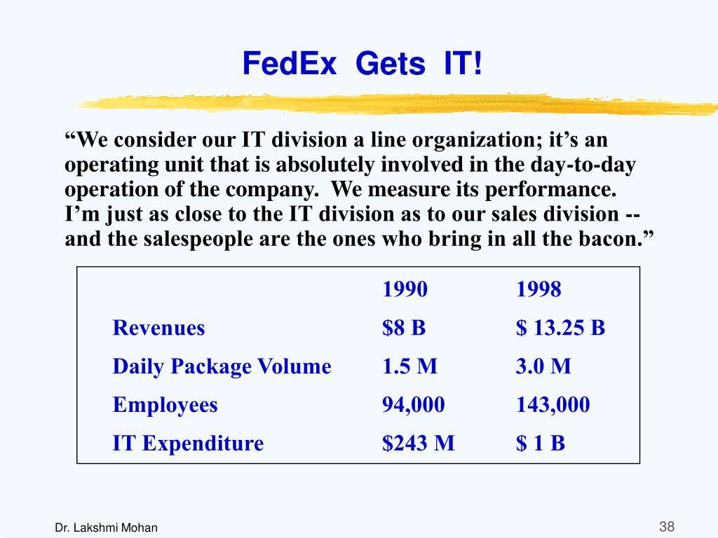 FedEx  Gets  IT!
