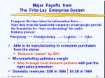 major payoffs from the frito lay enterprise system
