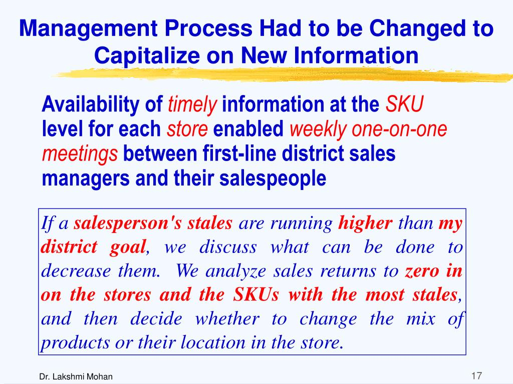 Management Process Had to be Changed to Capitalize on New Information