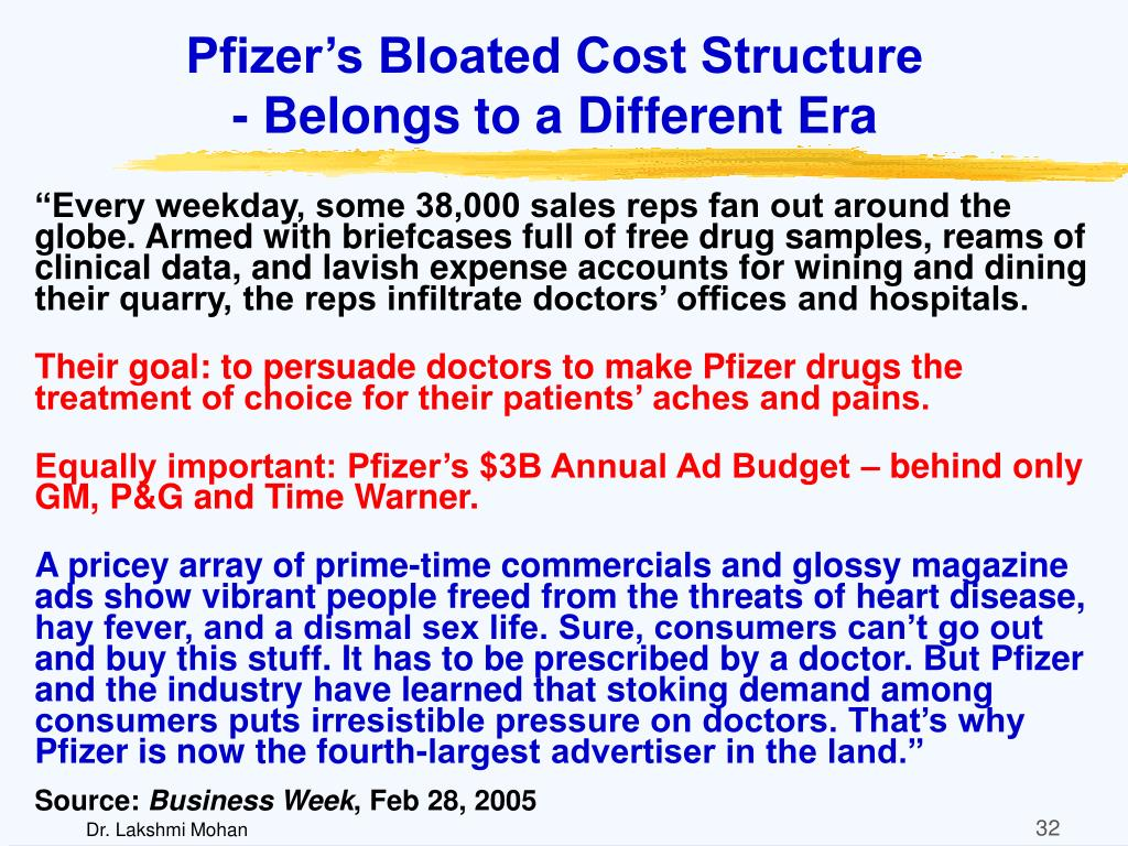 Pfizer's Bloated Cost Structure