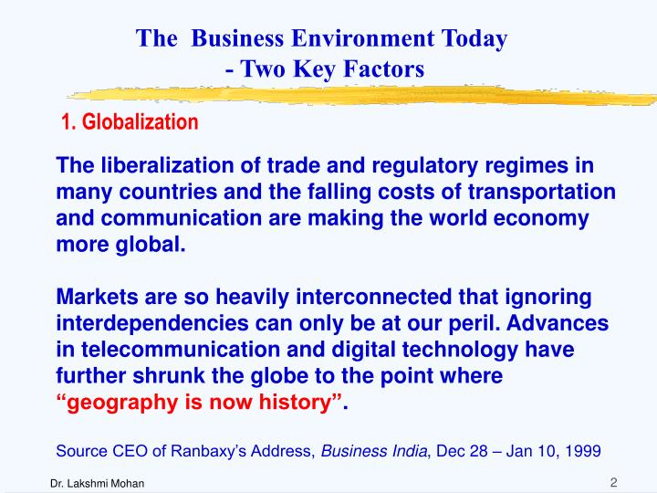 The business environment today two key factors