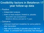 credibility factors in betaferon 17 year follow up data