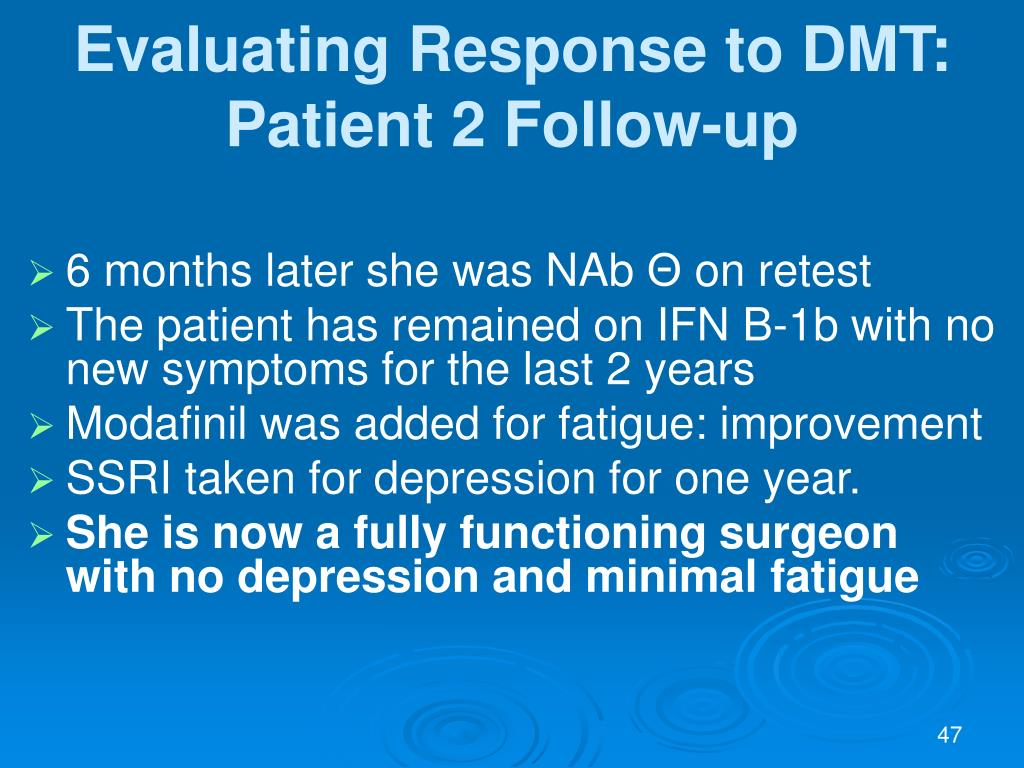 Evaluating Response to DMT: Patient 2 Follow-up