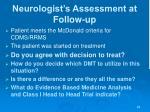 neurologist s assessment at follow up