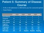 patient 5 summary of disease course