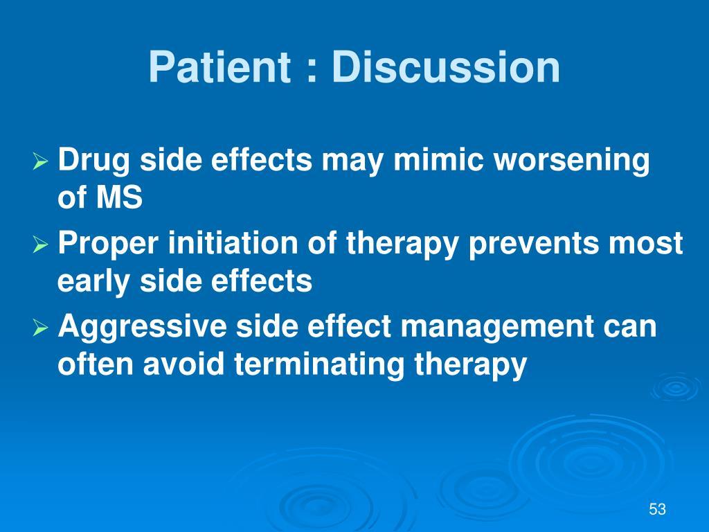 Patient : Discussion