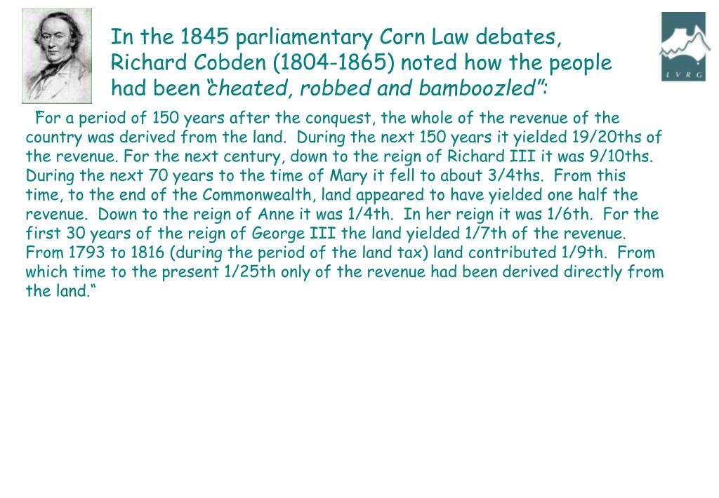 In the 1845 parliamentary Corn Law debates,