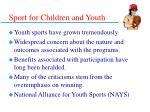sport for children and youth