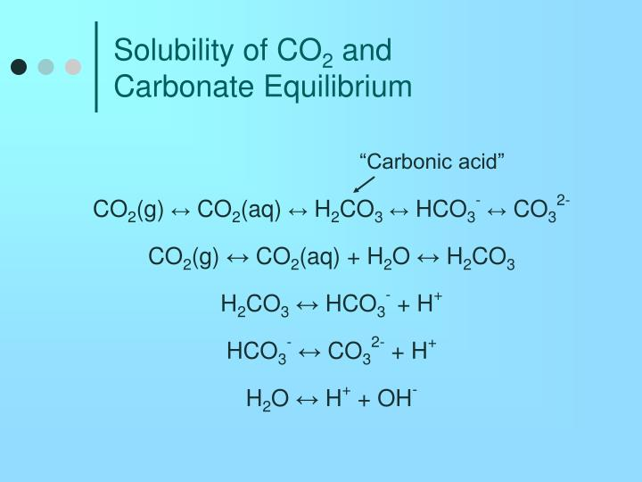 solubility of co 2 and carbonate equilibrium n.