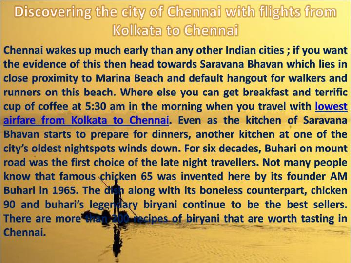 Discovering the city of Chennai with flights from