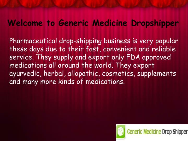 Welcome to Generic Medicine Dropshipper