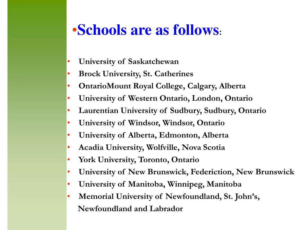 Schools are as follows