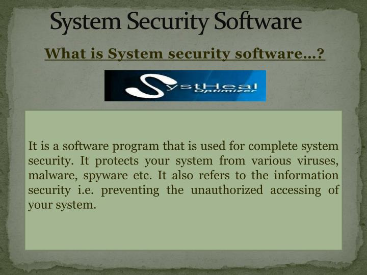 system security software n.
