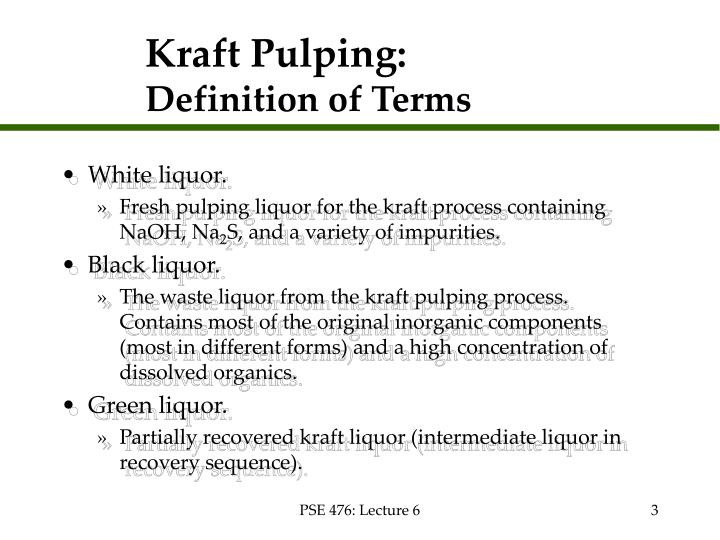 Kraft pulping definition of terms