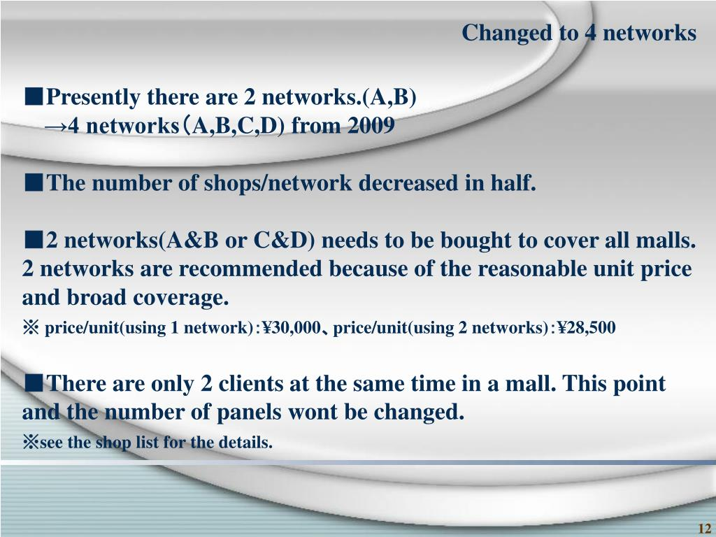 Changed to 4 networks