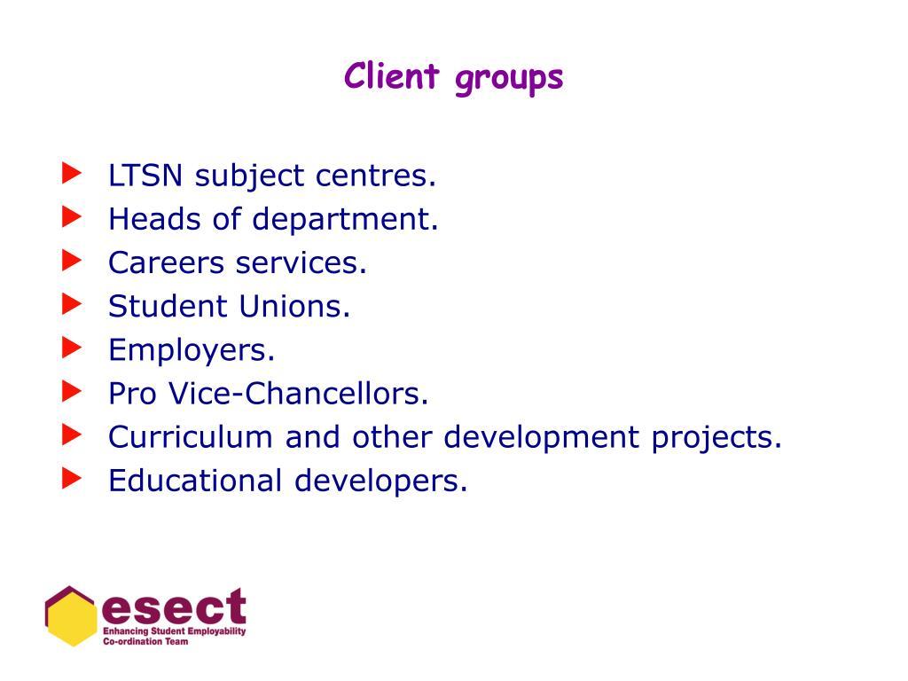 Client groups