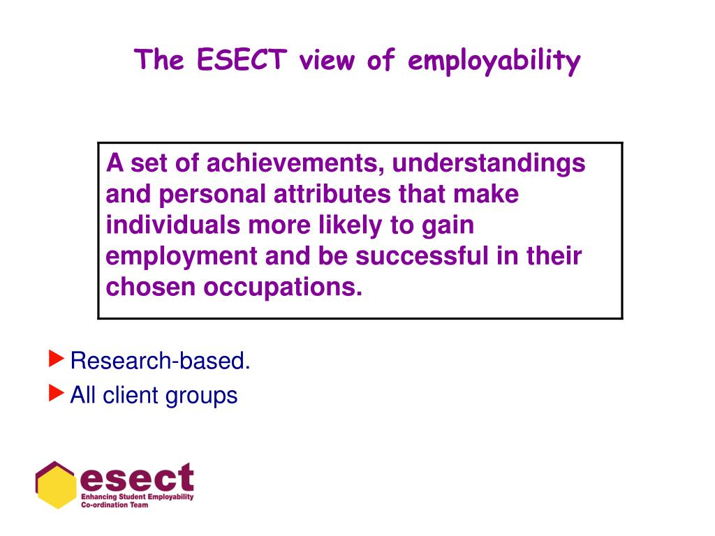 The ESECT view of employability