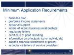 minimum application requirements