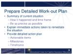 prepare detailed work out plan