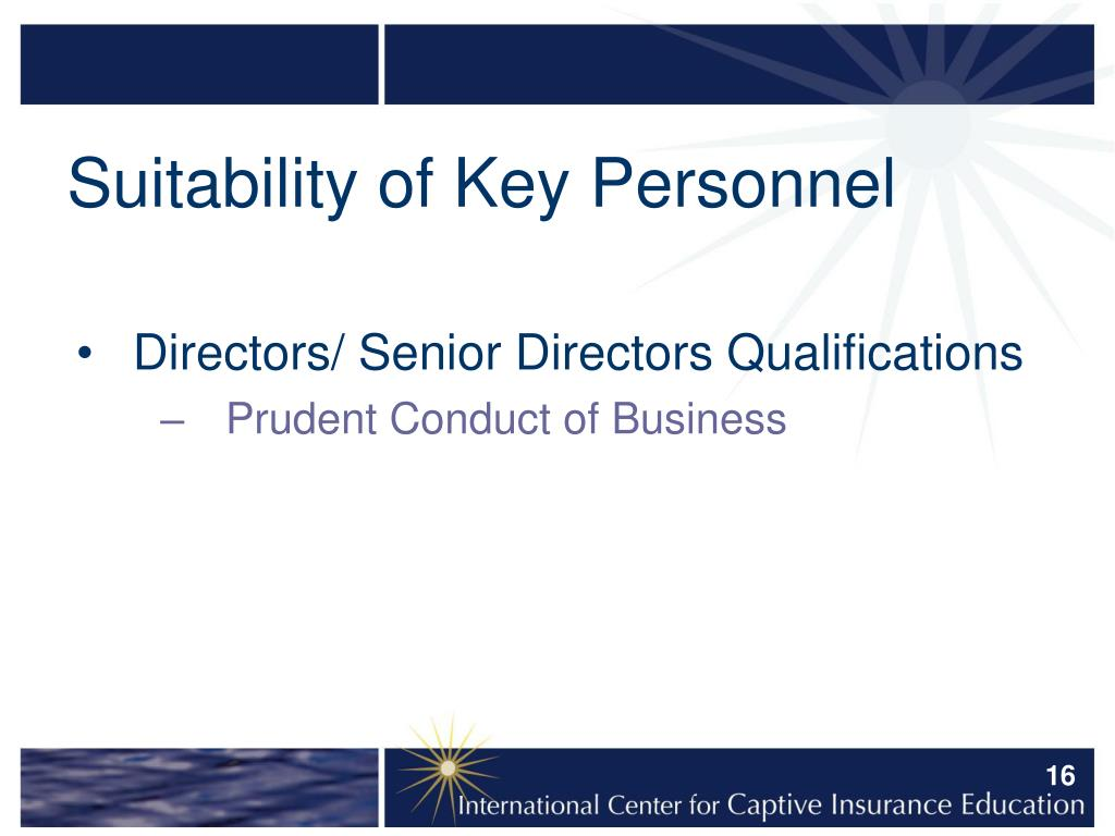 Suitability of Key Personnel