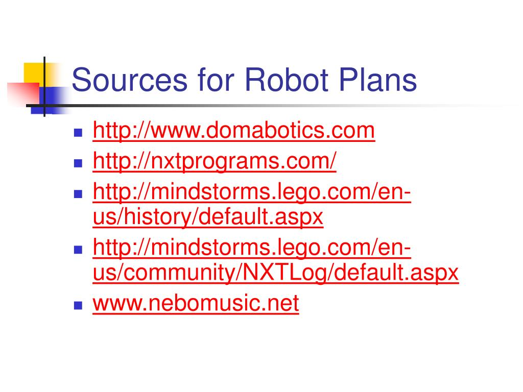 Sources for Robot Plans