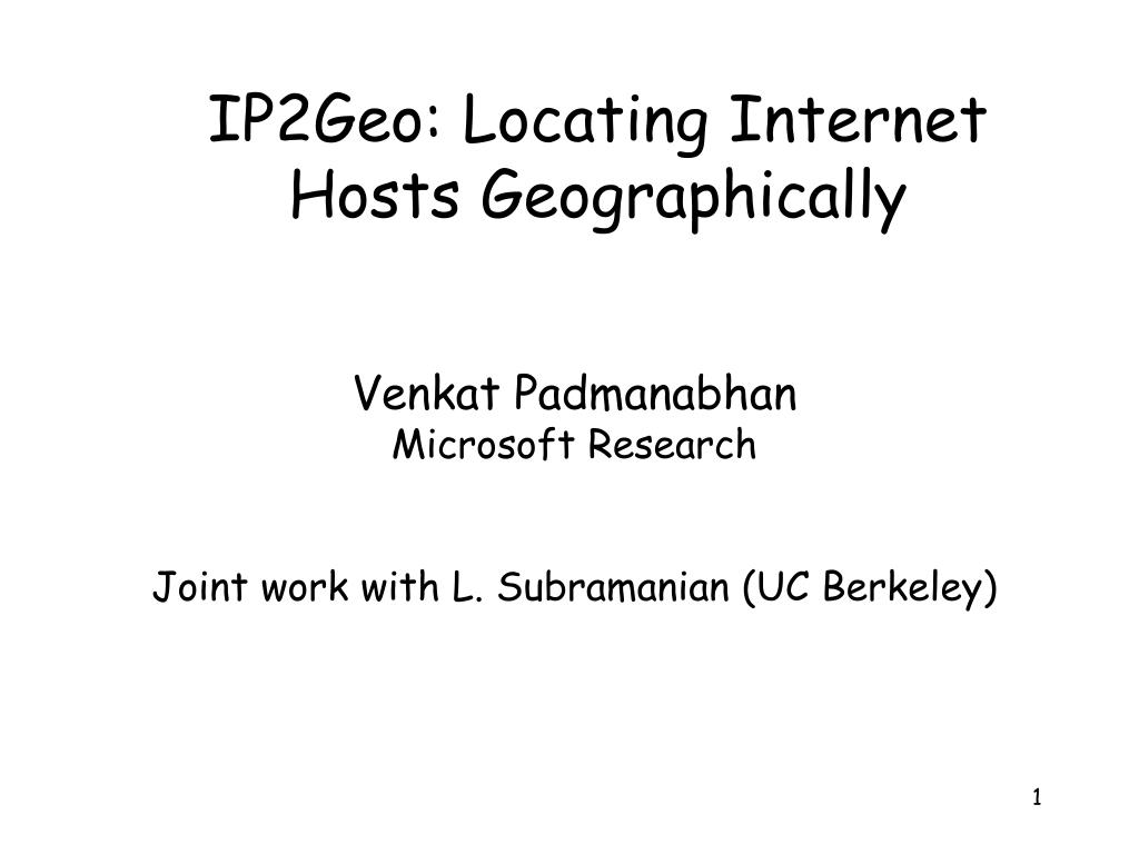 ip2geo locating internet hosts geographically l.