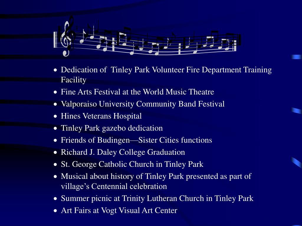 Dedication of  Tinley Park Volunteer Fire Department Training Facility