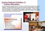 joining onboard activities 1 course discussion
