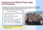 participants from different places ages and occupations