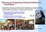 planning and organizing onboard activities 1 committees